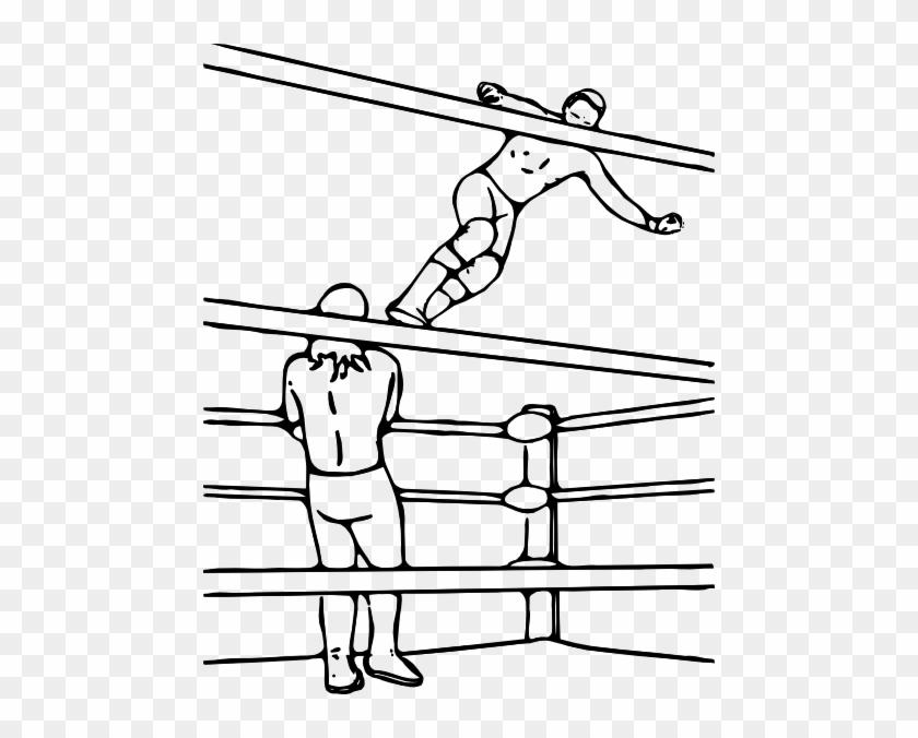 Pro Wrestling Super Dropkick Clip Art - Draw A Wrestling Ring #75238
