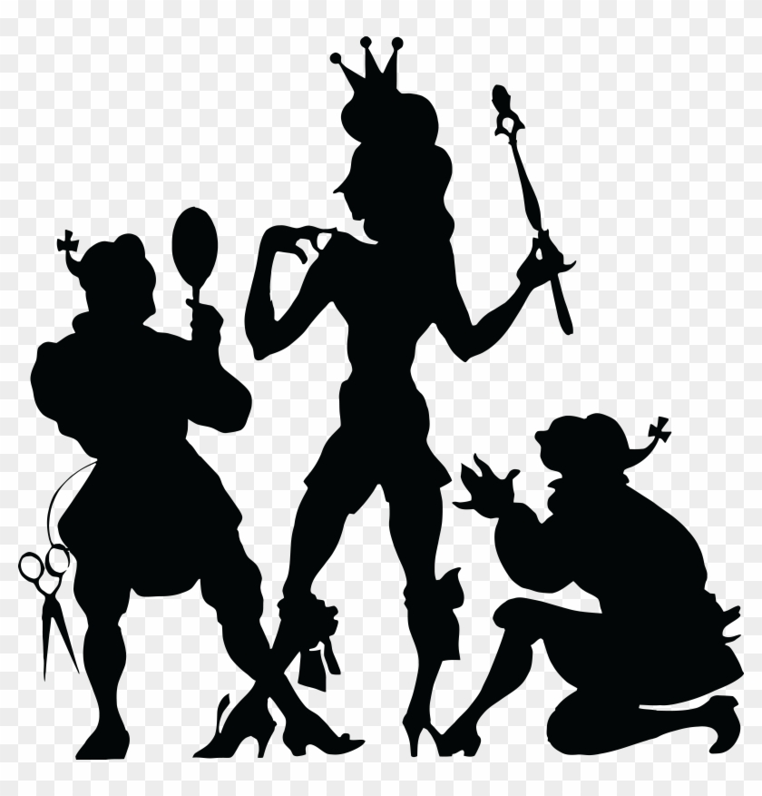 Free Clipart Of A Black Silhouetted King Being Dressed - Theatre Clipart #76310