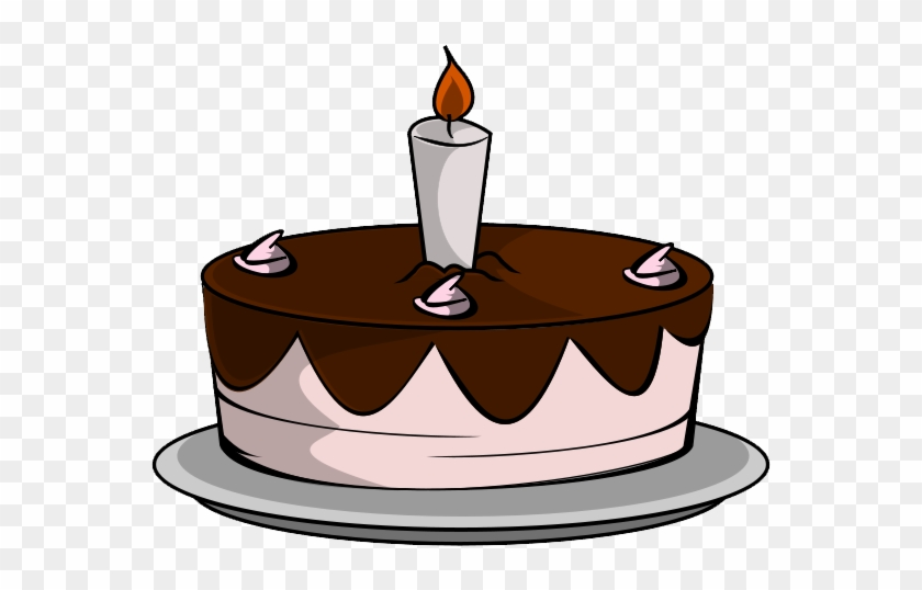 Clipart Chocolate Cake With Candles - Birthday Cake With 1 Candle #76851