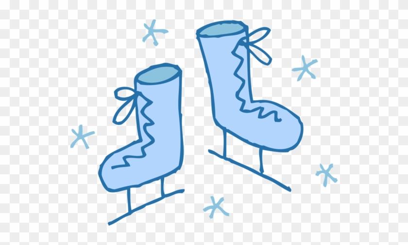 Blue Ice Skates Snowflakes - Ice Skating Clip Art #76916