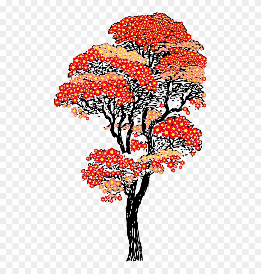 Free Red Aifowers Tree - Cherry Blossom Tree Clipart #421359