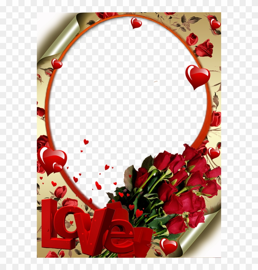 Red Transparent Frame With Roses Love And Hearts Beautiful Love