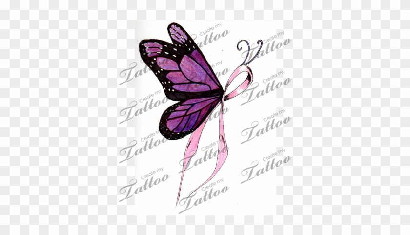 Ribbon Butterfly Cliparts Butterfly Breast Cancer Tattoo Designs