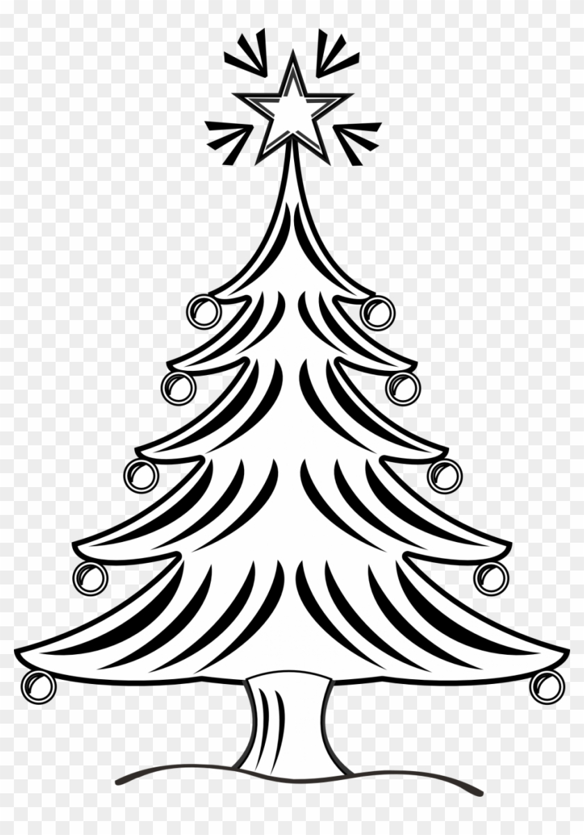 Pretty Black And White Christmas Tree Clipart Clipartfox - Christmas Tree Drawing Black And White #422018