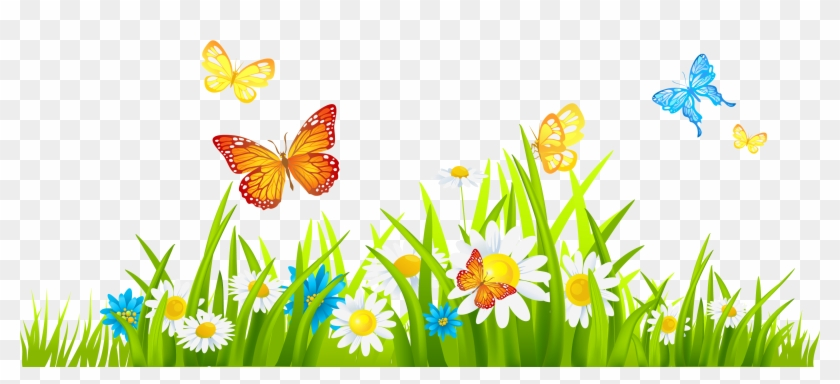 Grass Ground With Flowers And Butterflies Png Clipart Spring