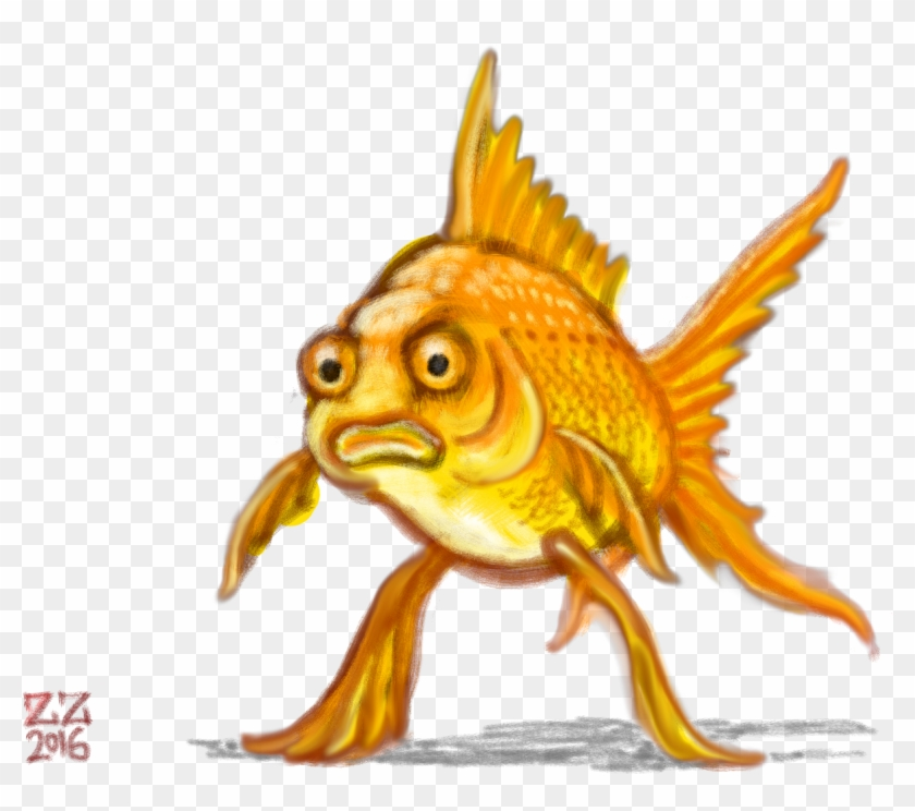 Draw A Fish Standing On Fins As If They Were Legs By - Draw A Standing Fish #422776