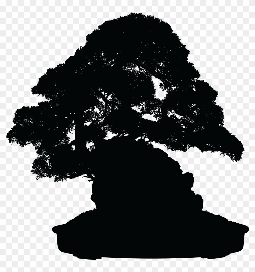 Free Clipart Of A Silhouetted Bonsai Plant - Free Bonsai Tree Silhouette Png #423115