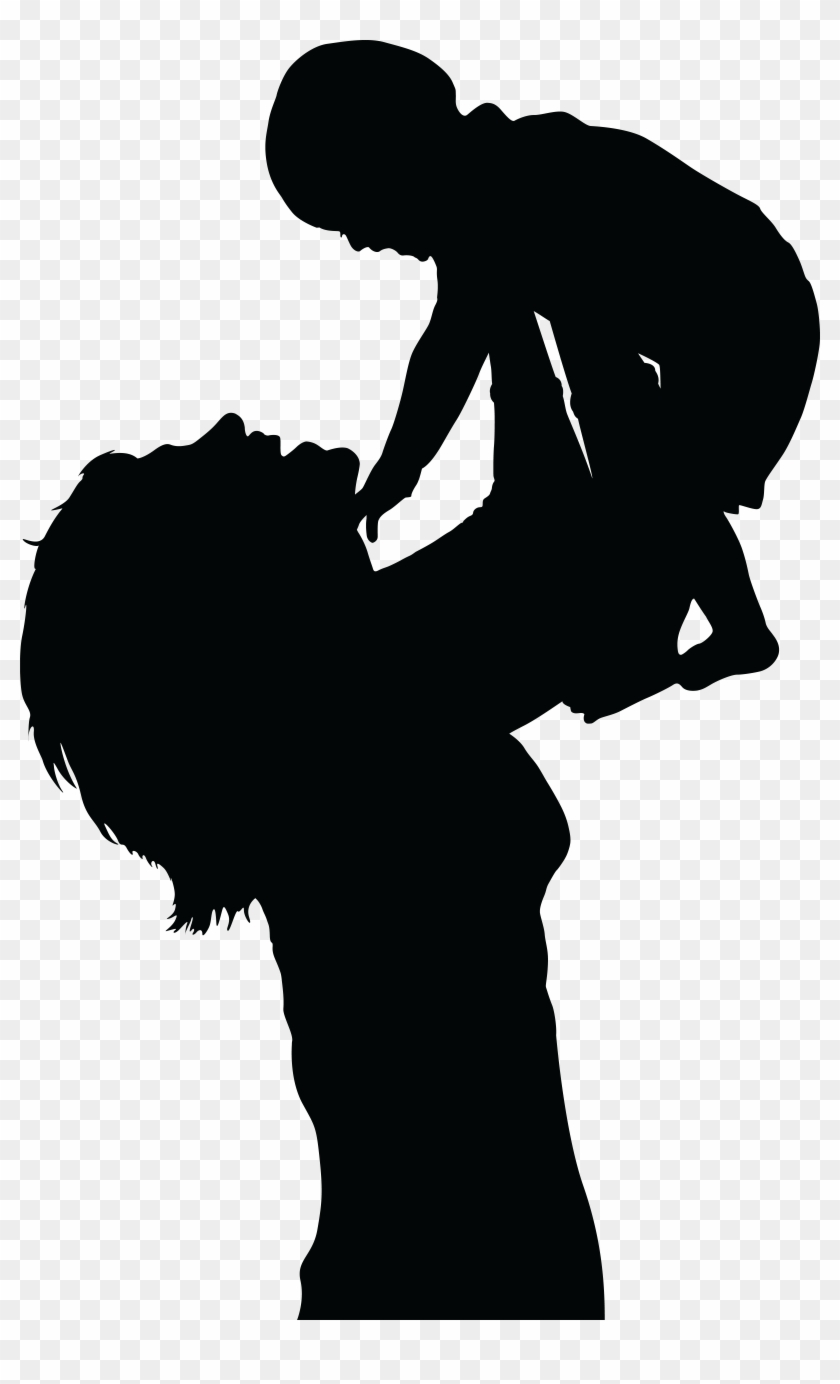 Free Clipart Of A Silhouetted Mom Lifting Up Her Baby Silhouette Mother And Baby Free Transparent Png Clipart Images Download