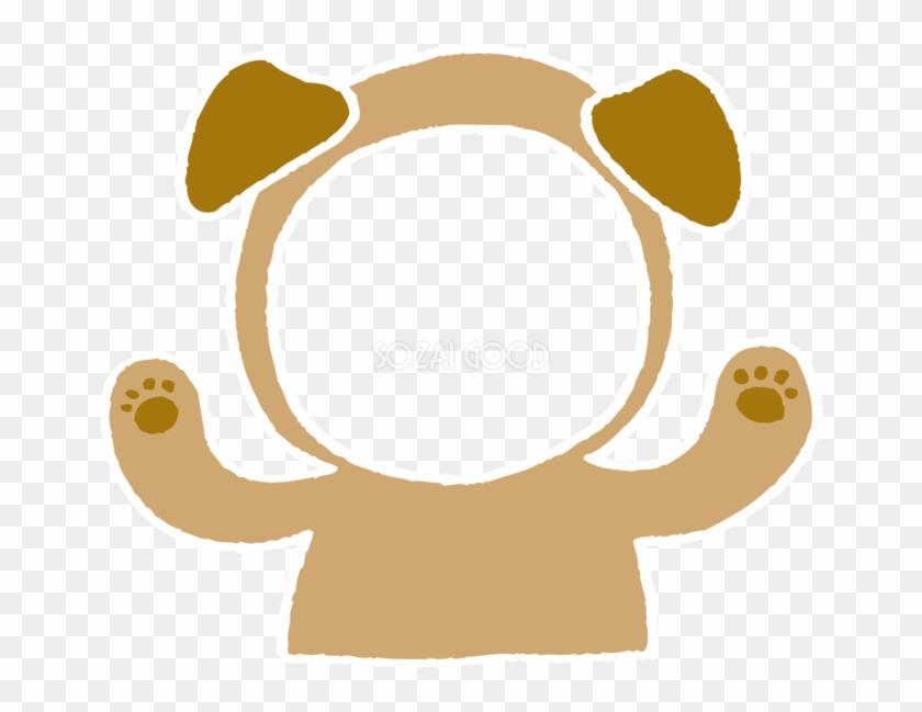 写真フレームと戌の着ぐるみ かわいい無料イラスト81785 年賀状 犬