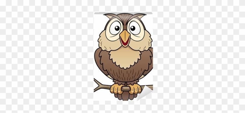 Illustration Of Cartoon Owl Sitting On Tree Branch - Cartoon Picture Of Owl #424437