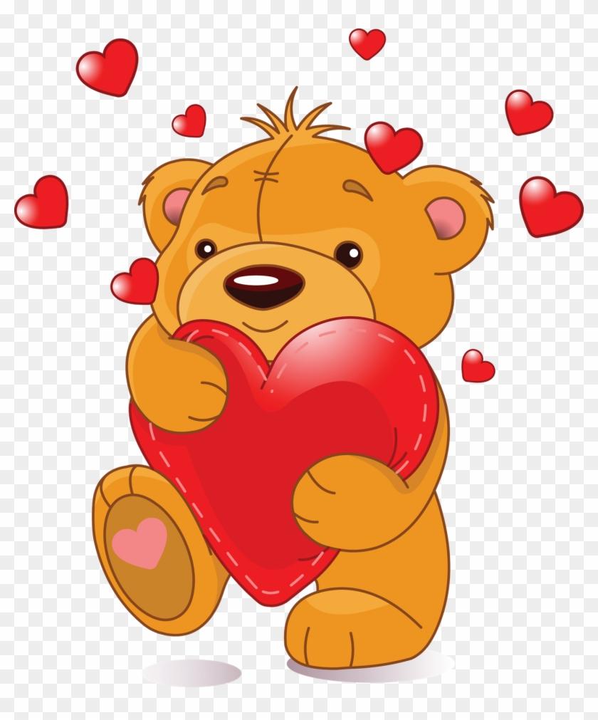 Bear Hug Clip Art Medium Size - Cute Teddy Bears With Hearts #424567