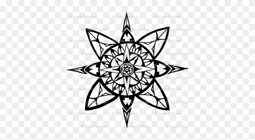 Compass Rose Back Circle Coloring Pages For Adults Free