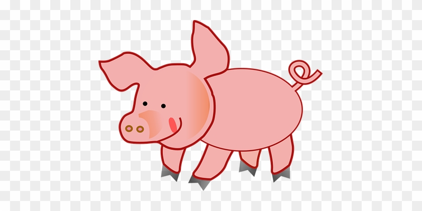 Pink Pig Fat Slops Ring-tailed Happy Pink - Cute Pig Clipart #425622