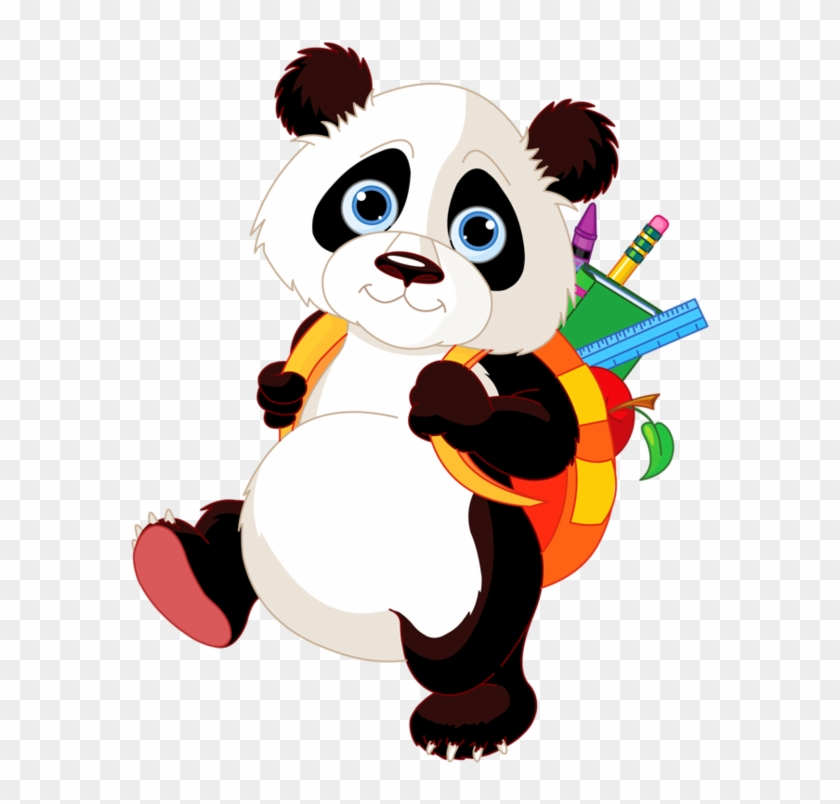 Color Drawing To Print - Panda Going To School #425657