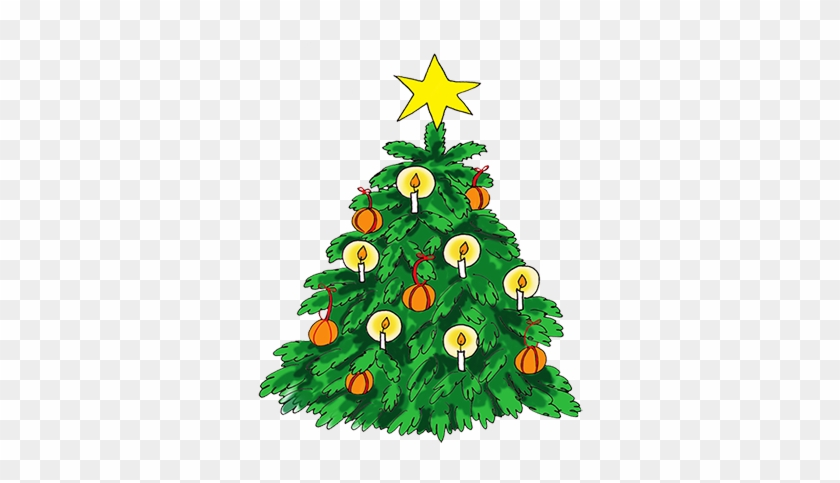 Christmas Tree Clip Art With Candles - Illustrations Decorated Christmas Trees #426031