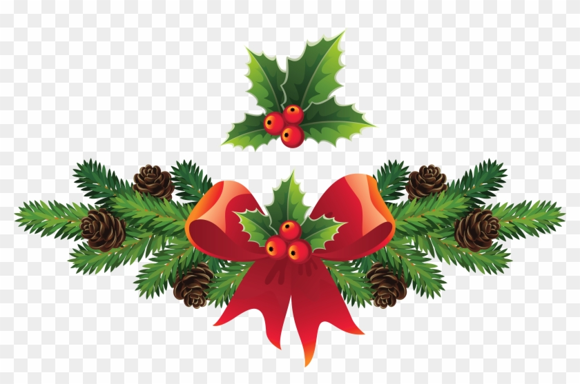 Branch Clipart Christmas - Merry Christmas Berries & Holly Throw Blanket #426078
