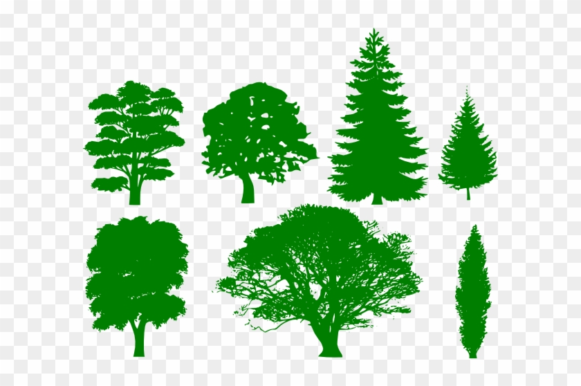 How To Set Use Green Trees Icon Png - Trees Silhouettes #426369