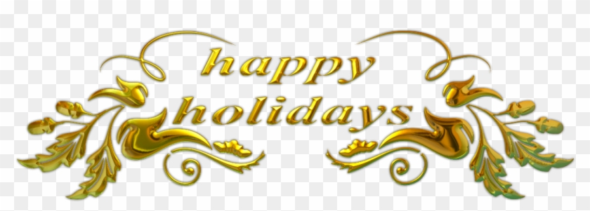 Happy Holidays Golden Flowers - Happy Holidays Text Png #426698