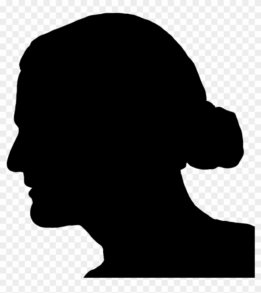Silhouette Of Man's Head Long Hair In Knot - Silhouette Man With Long Hair #428122