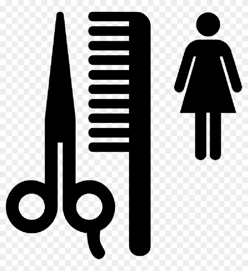 Sign, Scissors, Silhouette, Person, Hair, Shop, Beauty - Beauty Salon Clip Art #428607