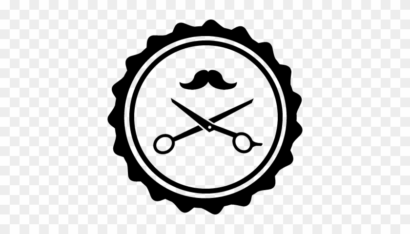 Hair Salon Badge With Scissors And Mustache Vector - Hair Salon Png #428622