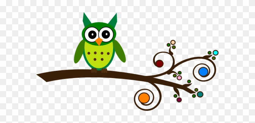 Green - Owl On Branch Clipart #430553