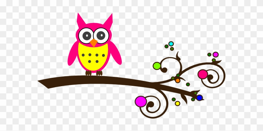 Pink Baby Owl Clipart Colorful Owl On Branch Free