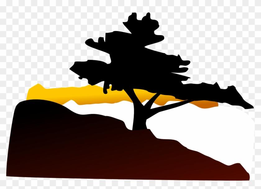 Silhouette Tree Sunset Landscape Png Image - Bonsai Tree Clip Art #431388