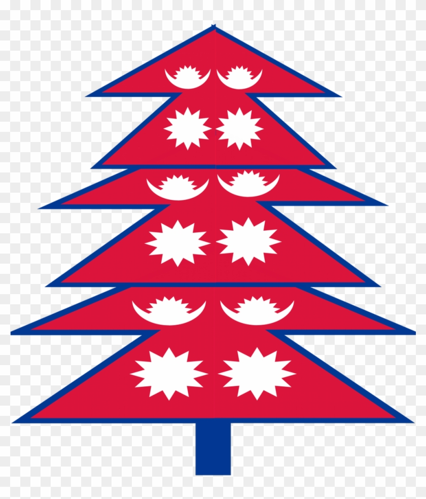 Oh No On Twitter - Nepal Flag Christmas Tree - Free Transparent PNG ...