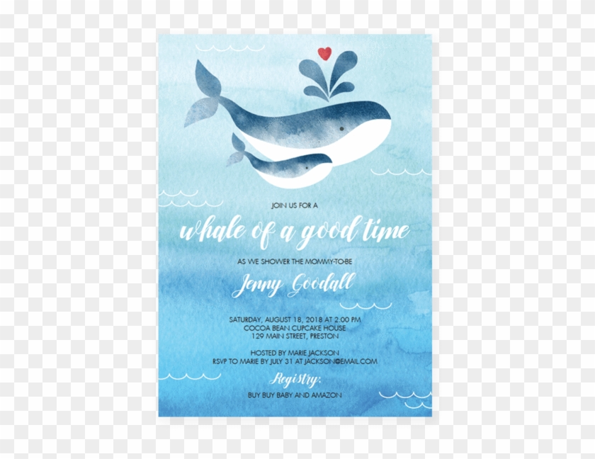 Whale Baby Shower Invitation Template Gender Neutral Whale Baby