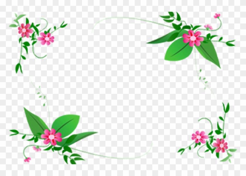 Green Flower Border Design Png - Hd Page Border Designs #436102
