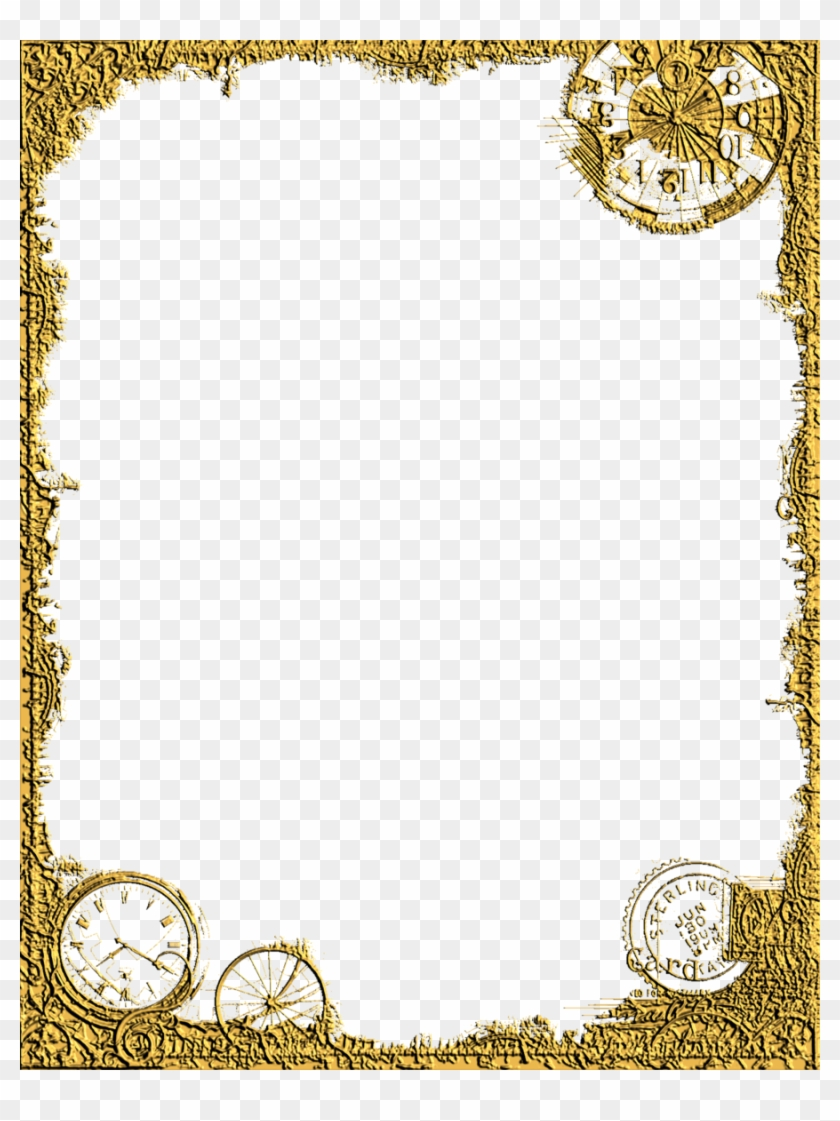 Gold Flower Border Design Png - Clip Art Gold Frame #436149