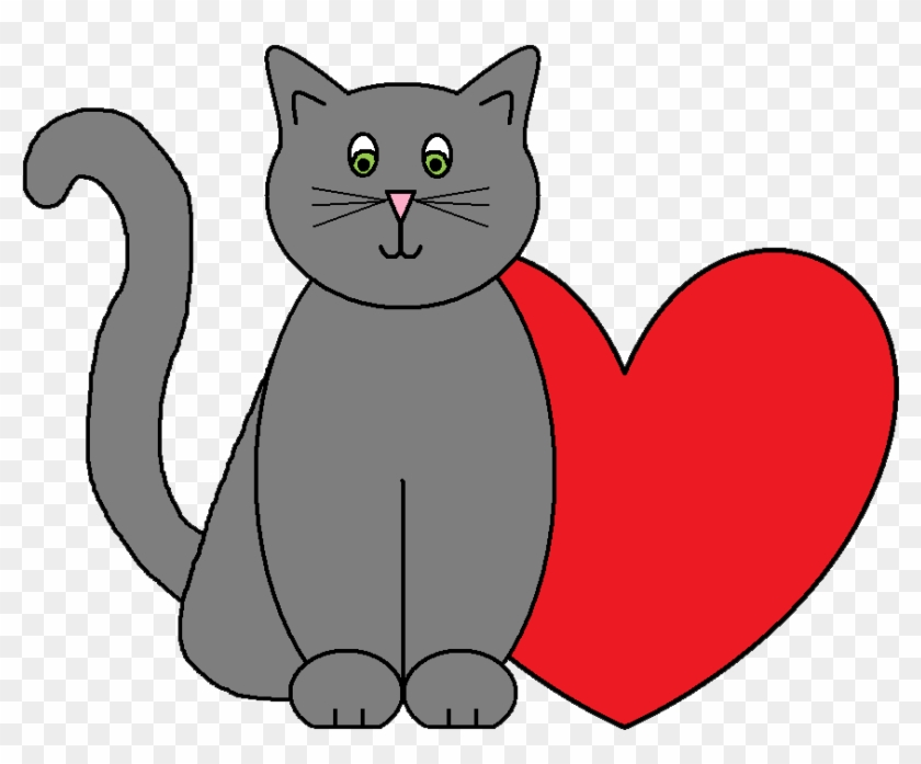 Valentine cat. Valentines day clipart hearts