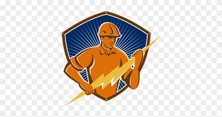 Logo & Messaging - Electrician Construction Worker Retr Round Coaster #436348
