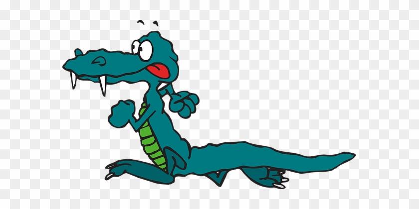 Alligator Green Reptile Wildlife Red Tongu - Running Animal Clip Art #438145