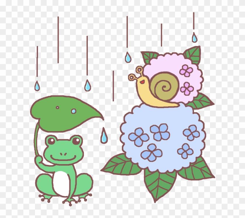 カエルとでんでん虫アジサイ 梅雨6月の無料イラスト夏の季節行事