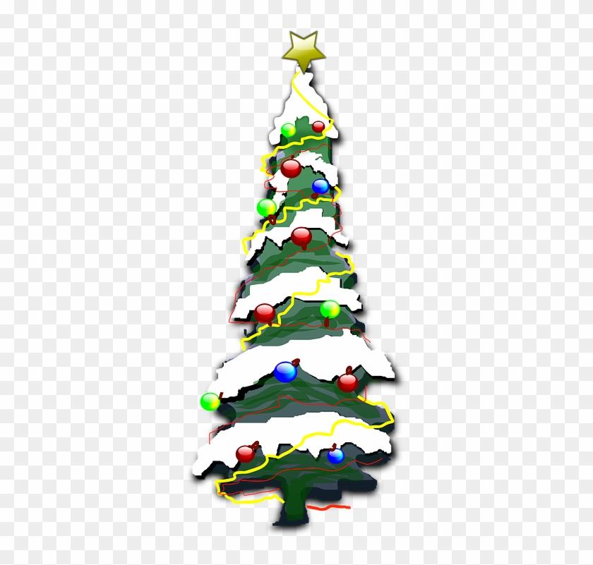 Graphic Christmas Tree 11, Buy Clip Art - Snowy Christmas Tree Cartoon #439808