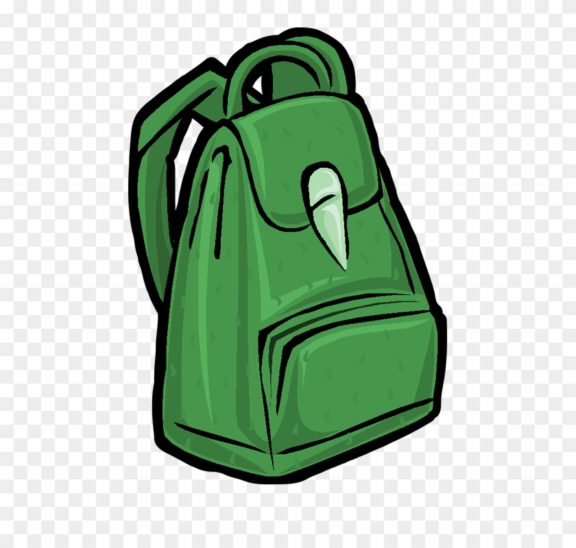 Backpack, Bag, School, Hike - Green Backpack Clipart #441814