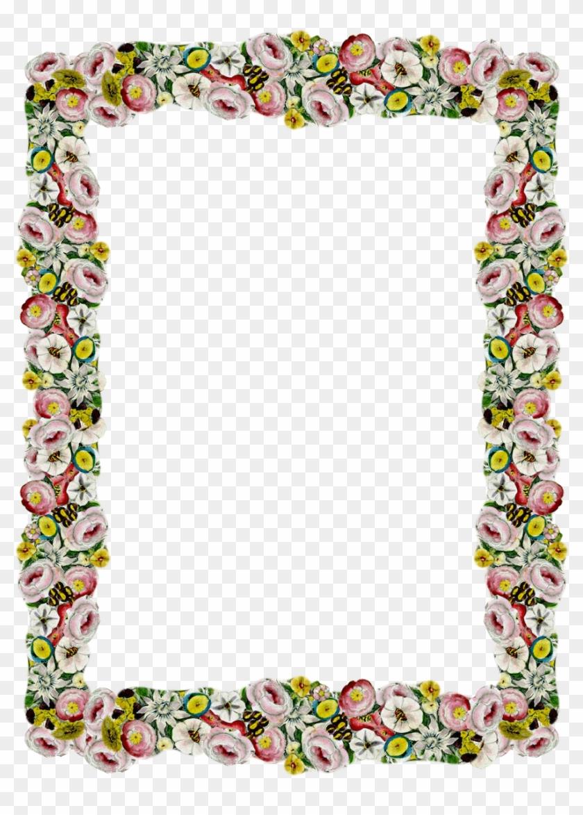Free Digital Vintage Flower Frame And Border Png With - Frame Flower ...