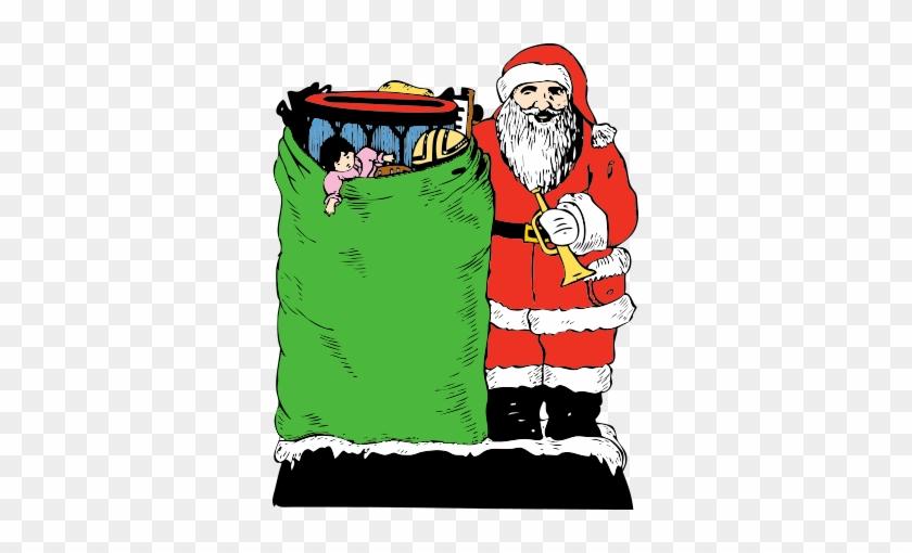 Free Christmas Present Clipart - Christmas Vintage Santa With Toy Bag Card #442411