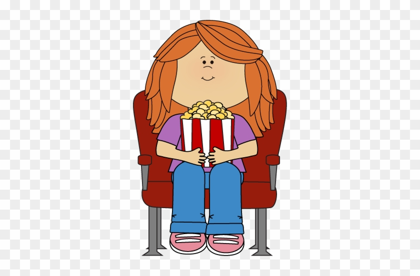 Oscar Clipart Watch Film - Cartoon Girl Watching Movie #442648
