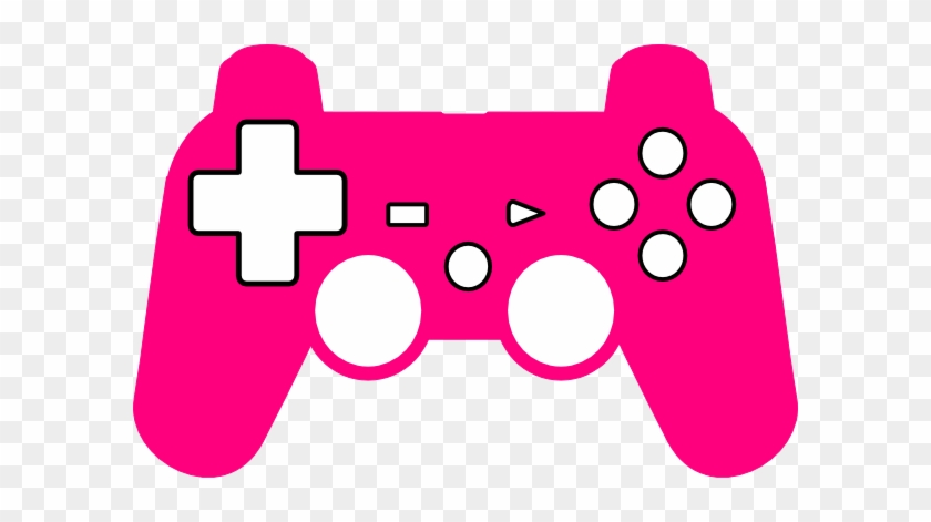 Video Game Clipart Silhouette - Pink Game Controller Cartoon #442679