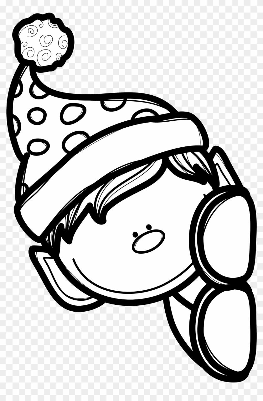 Black And White Coloring Page Of Boy Elf Peeking Around - Peeking ...