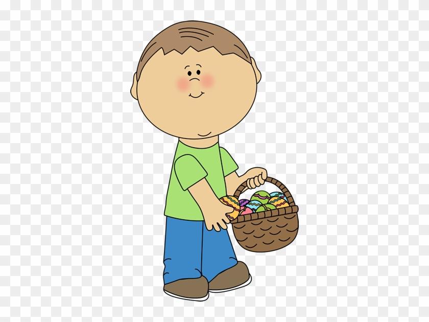Boy Putting Eggs In An Easter Basket - Boy Carrying Basket Clip Art #443896