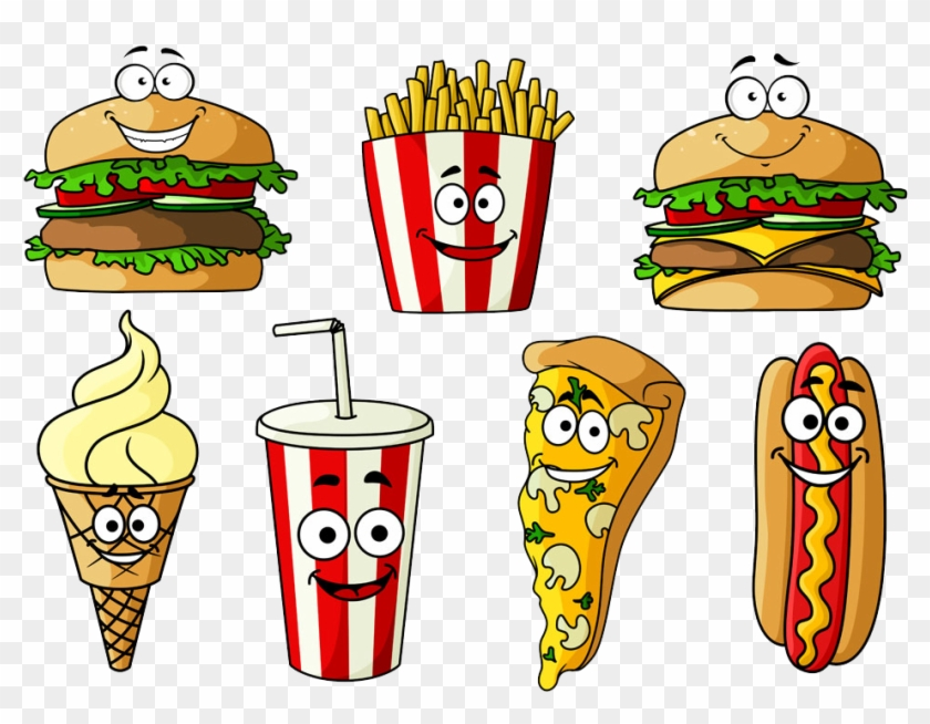 Hamburger Hot Dog Soft Drink Fast Food Cheeseburger - Junk Food Cartoon Characters #444415