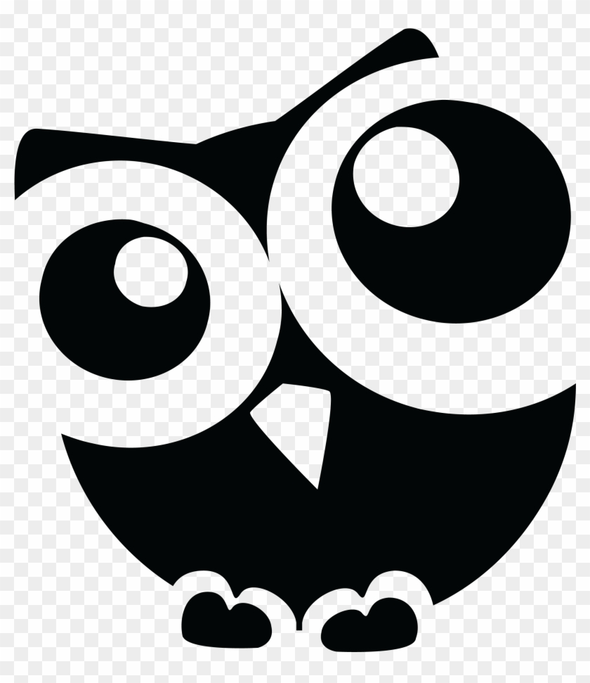 Free Clipart Of A Curious Owl Black White Owl Black And White