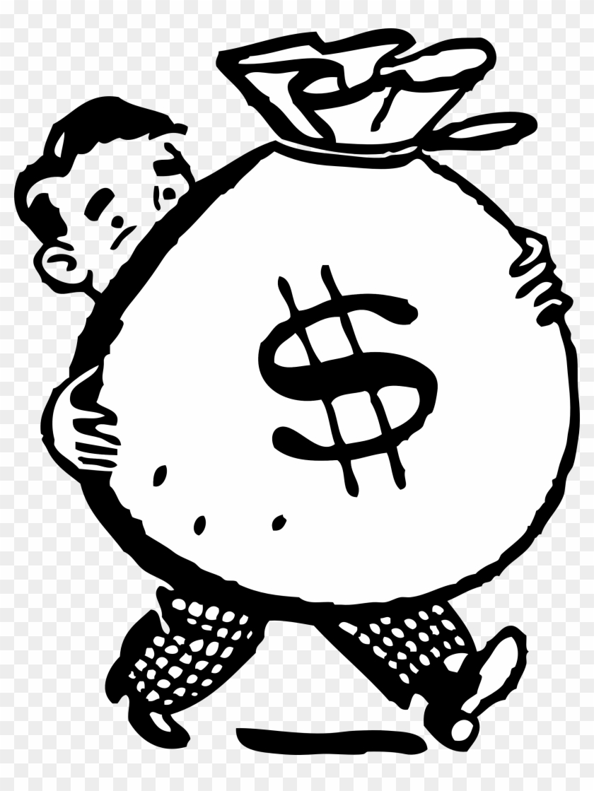 Free Retro Clipart Illustration Of Man Carrying Big - Money Clipart #446953