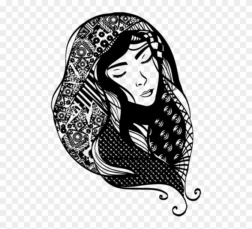 Medium Image - Black Girl Long Hair Black And White #449470