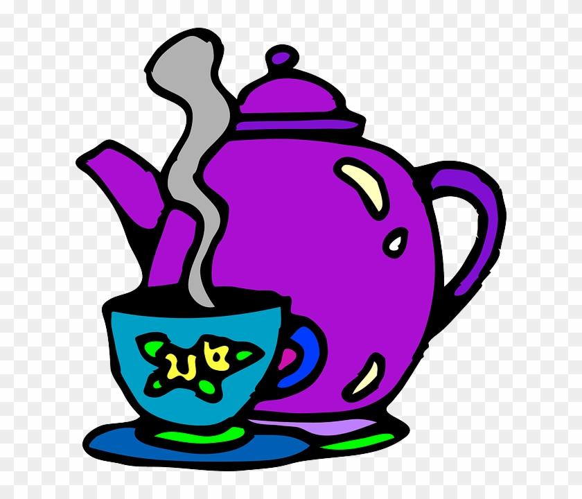 Pot Food, Cake, Cup, Cartoon, Free, Beverages, Teapot, - Tea Cup Clip Art #452684