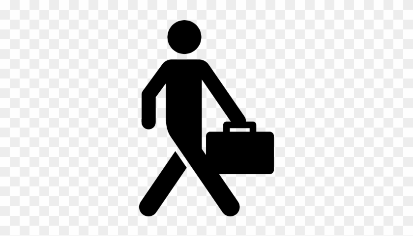 Business Man Walking With Suitcase Vector - People Walking Icon #453398